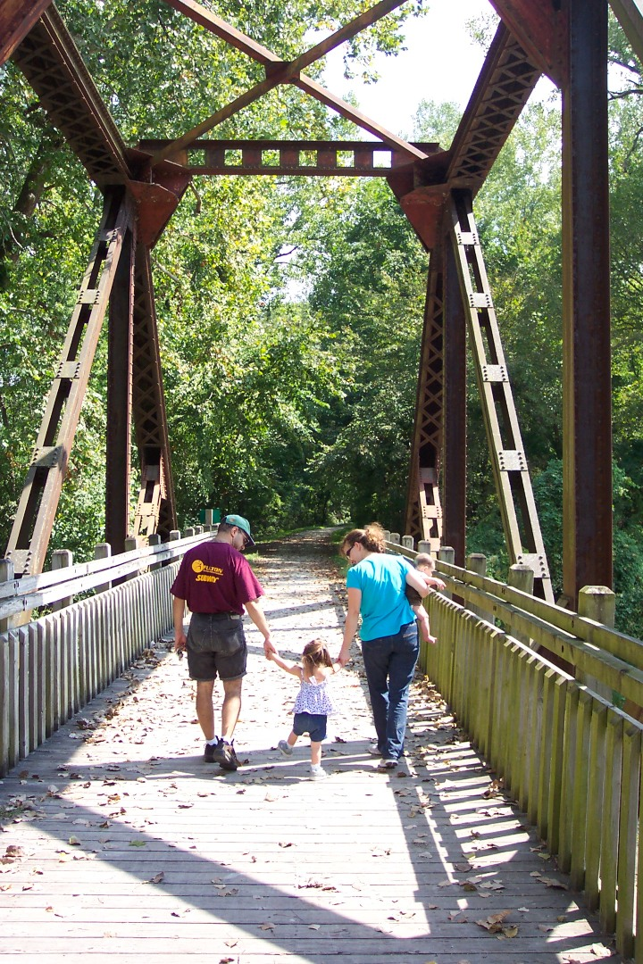 On the Katy Trail, crossing Little Bonne Femme...Alex wouldn't wait for us, so he didn't make the album shot. :)