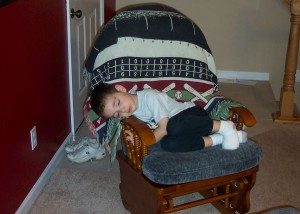 Alex sleeping in chair