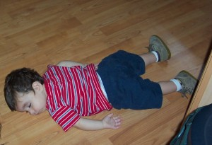 N. asleep on floor