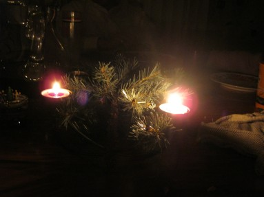 Advent wreath in darkness