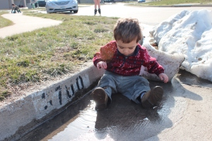 Michael in the puddle