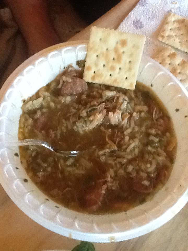 Gumbo, mixed with rice in the bowl
