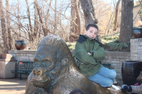 Alex takes a break from talking Minecraft with his buddy to pose with Mr. Gorilla