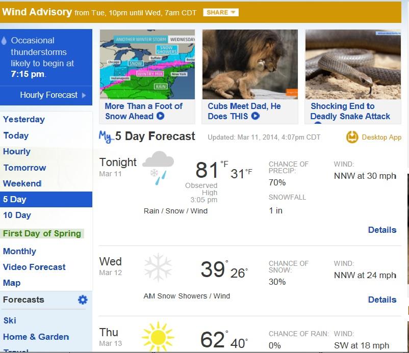 Weather Screen shot