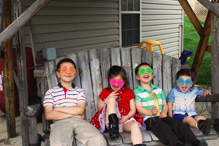 Kids with egg glasses