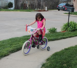 Trying to get her to adjust from trike to bike. She can do it, but she's really intimidated by the height.