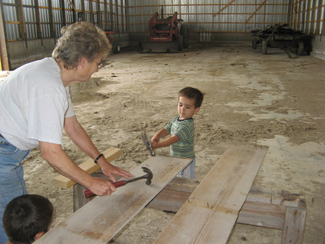 When Grandma and Michael returned, post-tractor, he decided he had to get in on the action.