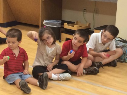 Random picture of my kids at a recent Down syndrome group event--a music therapy night