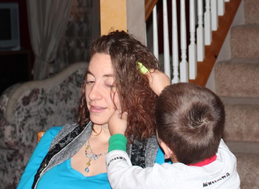 Combing hair 003
