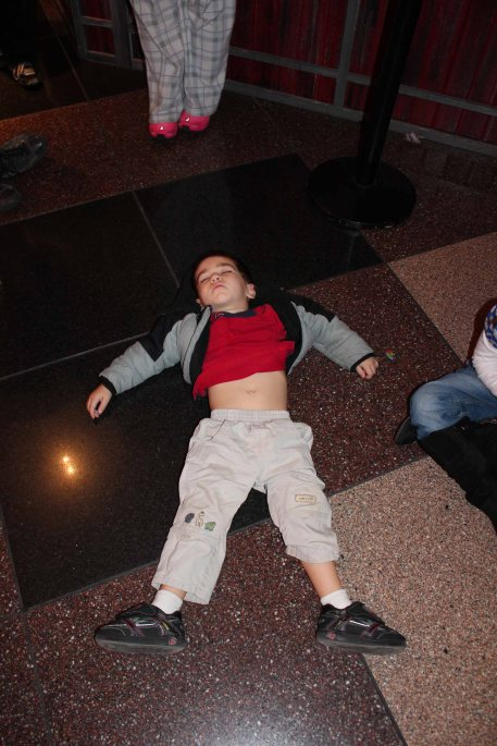 Michael passed out on the floor of Crown Center. Does this nap win us parents of the year award? :)