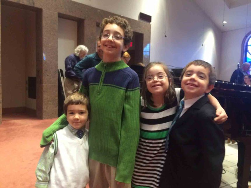 Every so often, something miraculous happens. Like all the kids dressing themselves for church, and three of them choosing the same color, with the fourth coordinating. What are the chances????